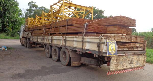 Motorista é preso com carga ilegal de madeira na BR-163