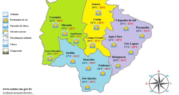 Primeira segunda-feira do inverno terá mínima de 15°C e máxima de 34°C
