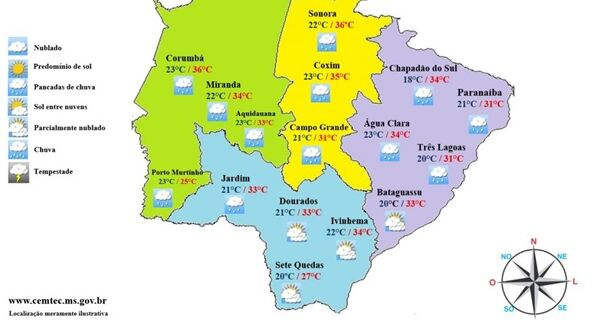 Chuvas isoladas devem ocorrer por todo o Estado