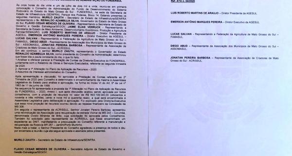 Conselho aprova contas do Fundersul; Acrissul tem duas sugestões atendidas